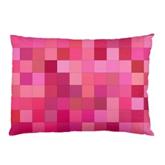 Pink Square Background Color Mosaic Pillow Case