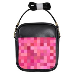 Pink Square Background Color Mosaic Girls Sling Bags