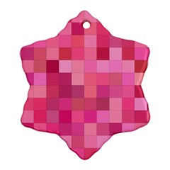 Pink Square Background Color Mosaic Ornament (snowflake)