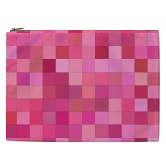 Pink Square Background Color Mosaic Cosmetic Bag (xxl)