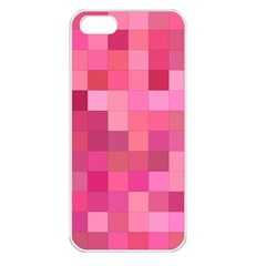 Pink Square Background Color Mosaic Apple Iphone 5 Seamless Case (white)