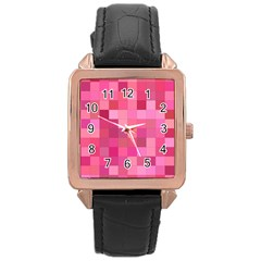 Pink Square Background Color Mosaic Rose Gold Leather Watch