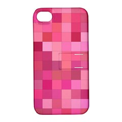 Pink Square Background Color Mosaic Apple Iphone 4/4s Hardshell Case With Stand