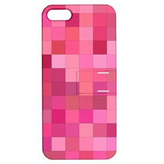 Pink Square Background Color Mosaic Apple Iphone 5 Hardshell Case With Stand