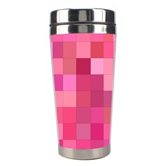 Pink Square Background Color Mosaic Stainless Steel Travel Tumblers