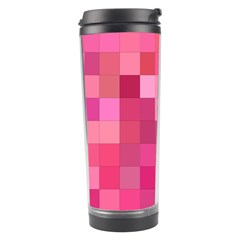 Pink Square Background Color Mosaic Travel Tumbler