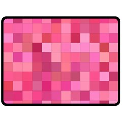 Pink Square Background Color Mosaic Double Sided Fleece Blanket (large)