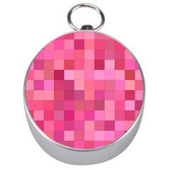 Pink Square Background Color Mosaic Silver Compasses