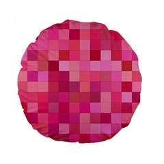 Pink Square Background Color Mosaic Standard 15  Premium Flano Round Cushions