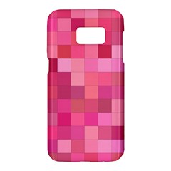 Pink Square Background Color Mosaic Samsung Galaxy S7 Hardshell Case