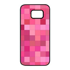 Pink Square Background Color Mosaic Samsung Galaxy S7 Edge Black Seamless Case