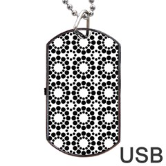 Pattern Seamless Monochrome Dog Tag Usb Flash (two Sides)