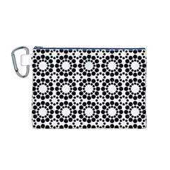 Pattern Seamless Monochrome Canvas Cosmetic Bag (m)