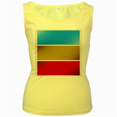 Pattern Template Banner Background Women s Yellow Tank Top
