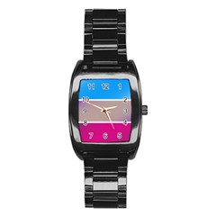 Pattern Template Banner Background Stainless Steel Barrel Watch