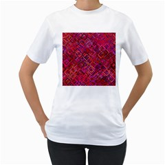 Pattern Background Square Modern Women s T Shirt (white) (two Sided)