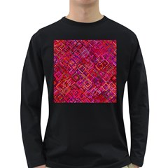 Pattern Background Square Modern Long Sleeve Dark T Shirts