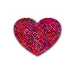 Pattern Background Square Modern Heart Coaster (4 Pack)