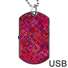 Pattern Background Square Modern Dog Tag Usb Flash (two Sides)