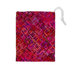 Pattern Background Square Modern Drawstring Pouches (large)