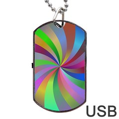 Spiral Background Design Swirl Dog Tag Usb Flash (one Side)