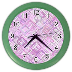 Pink Modern Background Square Color Wall Clocks