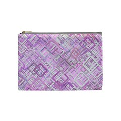 Pink Modern Background Square Cosmetic Bag (medium)