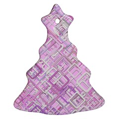 Pink Modern Background Square Christmas Tree Ornament (two Sides)
