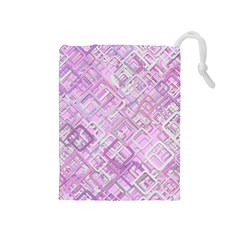 Pink Modern Background Square Drawstring Pouches (medium)