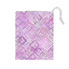 Pink Modern Background Square Drawstring Pouches (large)