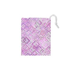 Pink Modern Background Square Drawstring Pouches (xs)