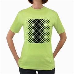 Square Diagonal Pattern Monochrome Women s Green T Shirt