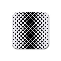 Square Diagonal Pattern Monochrome Rubber Coaster (square)