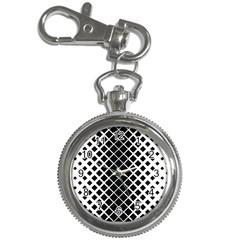 Square Diagonal Pattern Monochrome Key Chain Watches