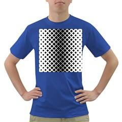 Square Diagonal Pattern Monochrome Dark T Shirt
