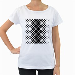 Square Diagonal Pattern Monochrome Women s Loose Fit T Shirt (white)