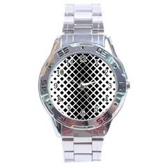 Square Diagonal Pattern Monochrome Stainless Steel Analogue Watch