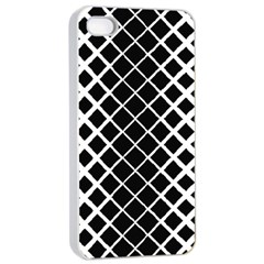 Square Diagonal Pattern Monochrome Apple Iphone 4/4s Seamless Case (white)