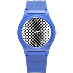 Square Diagonal Pattern Monochrome Round Plastic Sport Watch (s)