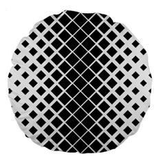 Square Diagonal Pattern Monochrome Large 18  Premium Round Cushions