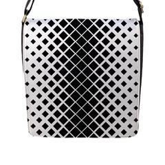 Square Diagonal Pattern Monochrome Flap Messenger Bag (l)