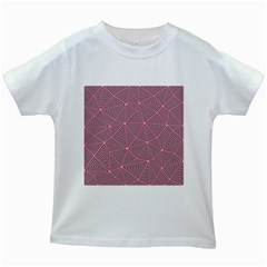 Purple Triangle Background Abstract Kids White T Shirts