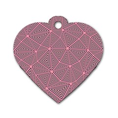 Purple Triangle Background Abstract Dog Tag Heart (two Sides)