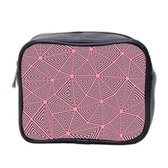 Purple Triangle Background Abstract Mini Toiletries Bag 2 Side