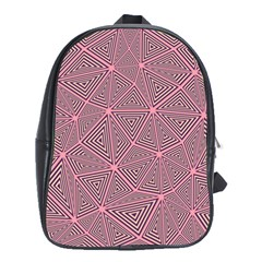 Purple Triangle Background Abstract School Bag (xl)