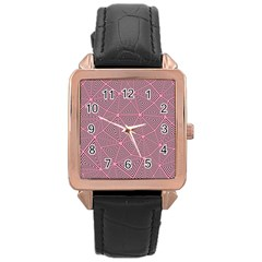 Purple Triangle Background Abstract Rose Gold Leather Watch