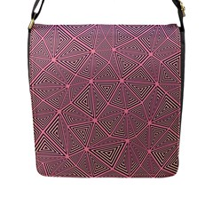 Purple Triangle Background Abstract Flap Messenger Bag (l)