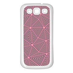 Purple Triangle Background Abstract Samsung Galaxy S3 Back Case (white)