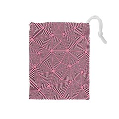 Purple Triangle Background Abstract Drawstring Pouches (medium)