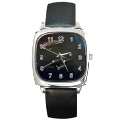 Space Travel Spaceship Space Square Metal Watch